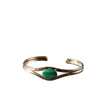 Bracelet plaqué or malachite, bijoux de créateur, vente en ligne, bijou artisanal, bijou fabrication française