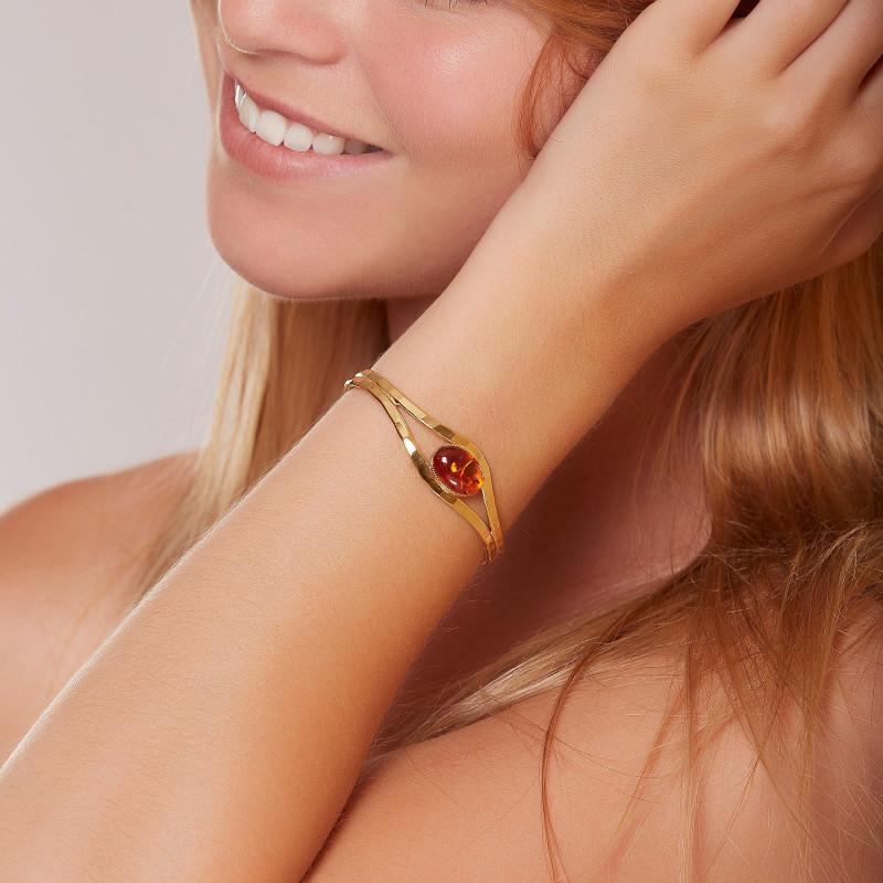 Bracelet plaqué or ambre Classica, bijoux de créateur, vente en ligne, bijou artisanal, bijou fabrication française
