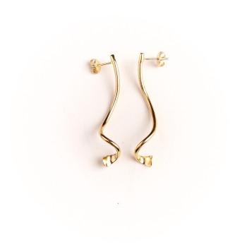 Boucles d'oreille plaqué or Fluide absolu, bijoux de créateur, vente en ligne, bijou artisanal, bijou fabrication française