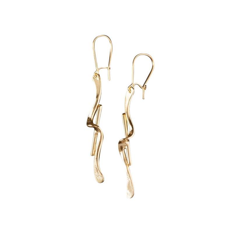 Boucles d'oreille plaqué or 2 fils, bijoux de créateur, vente en ligne, bijou artisanal, bijou fabrication française