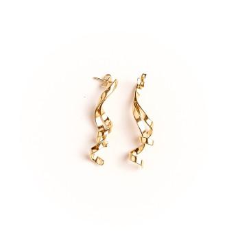 Boucles d'oreille plaqué or 3 fils, bijoux de créateur, vente en ligne, bijou artisanal, bijou fabrication française