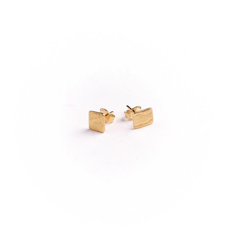 Boucles d'oreille plaqué or 3 Imprimé cuir, bijoux de créateur, vente en ligne, bijou artisanal, bijou fabrication française