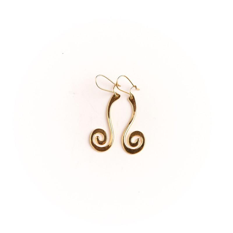 Boucles d'oreille plaqué or spirale, bijoux de créateur, vente en ligne, bijou artisanal, bijou fabrication française