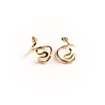Boucles d'oreille plaqué or séduction, bijoux de créateur, vente en ligne, bijou artisanal, bijou fabrication française