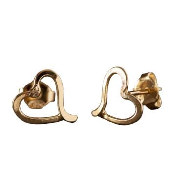 Boucles d'oreille plaqué or coeur, bijoux de créateur, vente en ligne, bijou artisanal, bijou fabrication française