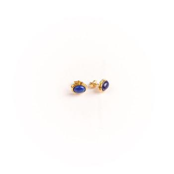 Boucles d'oreille plaqué or avec Lapis lazuli