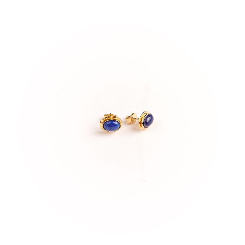 Boucles d'oreille plaqué or lapis lazuli Classica, bijoux de créateur, vente en ligne, bijou artisanal, bijou fabrication frança