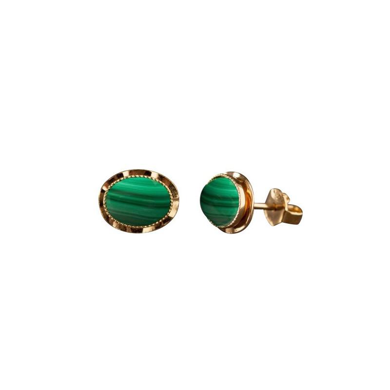 Boucles d'oreille plaqué or malachite Classica, bijoux de créateur, vente en ligne, bijou artisanal, bijou fabrication française