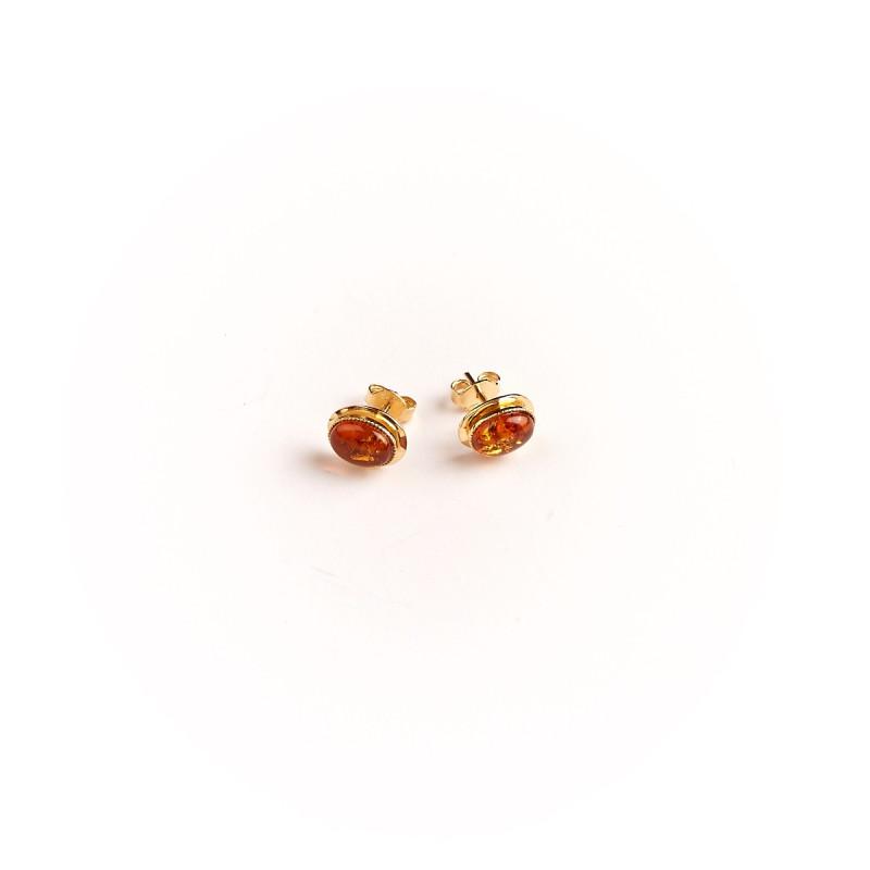 Boucles d'oreille plaqué or ambre Classica, bijoux de créateur, vente en ligne, bijou artisanal, bijou fabrication française