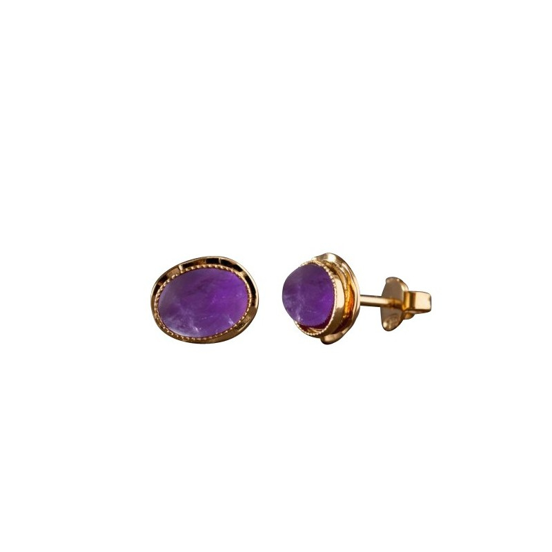 Boucles d'oreille plaqué or améthyste Classica, bijoux de créateur, vente en ligne, bijou artisanal, bijou fabrication française