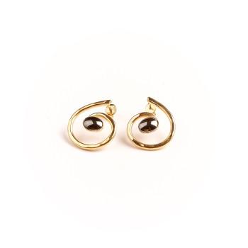 Boucles d'oreille plaqué or hématite, bijoux de créateur, vente en ligne, bijou artisanal, bijou fabrication française