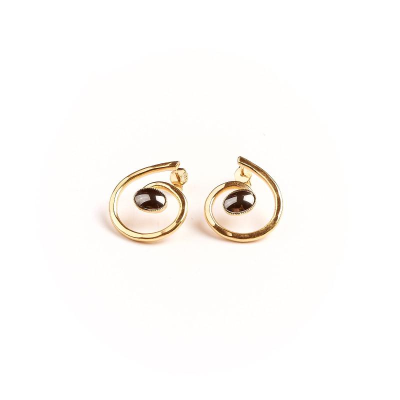 Boucles d'oreille plaqué or hématite Glaïa, bijoux de créateur, vente en ligne, bijou artisanal, bijou fabrication française