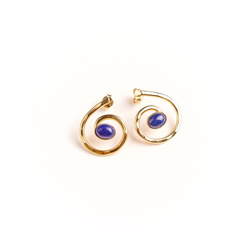 Boucles d'oreille plaqué or lapis lazuli Glaïa, bijoux de créateur, vente en ligne, bijou artisanal, bijou fabrication française