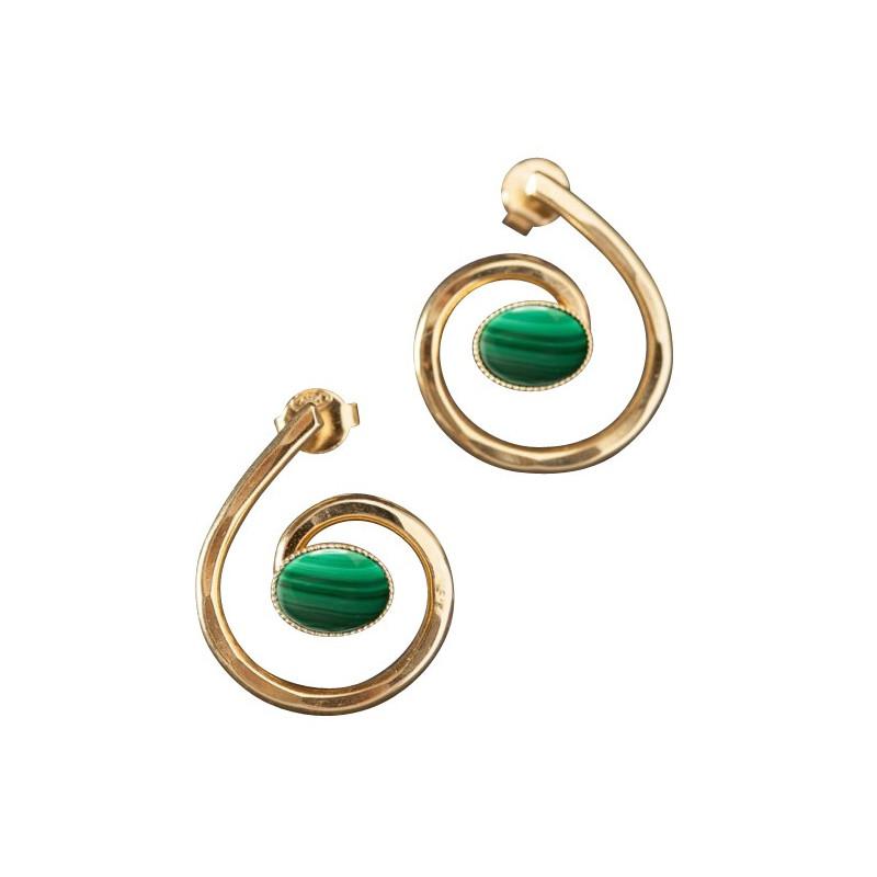 Boucles d'oreille plaqué or malachite, bijoux de créateur, vente en ligne, bijou artisanal, bijou fabrication française