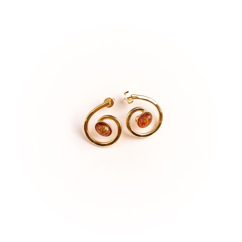 Boucles d'oreille plaqué or avec Ambre 2