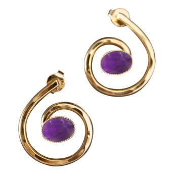 Boucles d'oreille plaqué or améthyste, bijoux de créateur, vente en ligne, bijou artisanal, bijou fabrication française