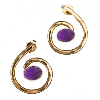 Boucles d'oreille plaqué or avec Améthyste 2