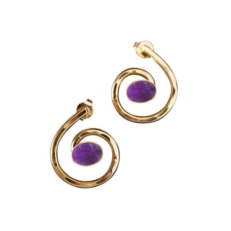 Boucles d'oreille plaqué or améthyste Glaïa, bijoux de créateur, vente en ligne, bijou artisanal, bijou fabrication française