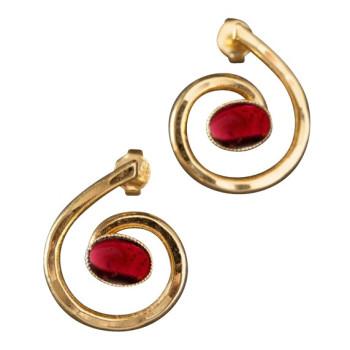 Boucles d'oreille plaqué or avec Grenat 2