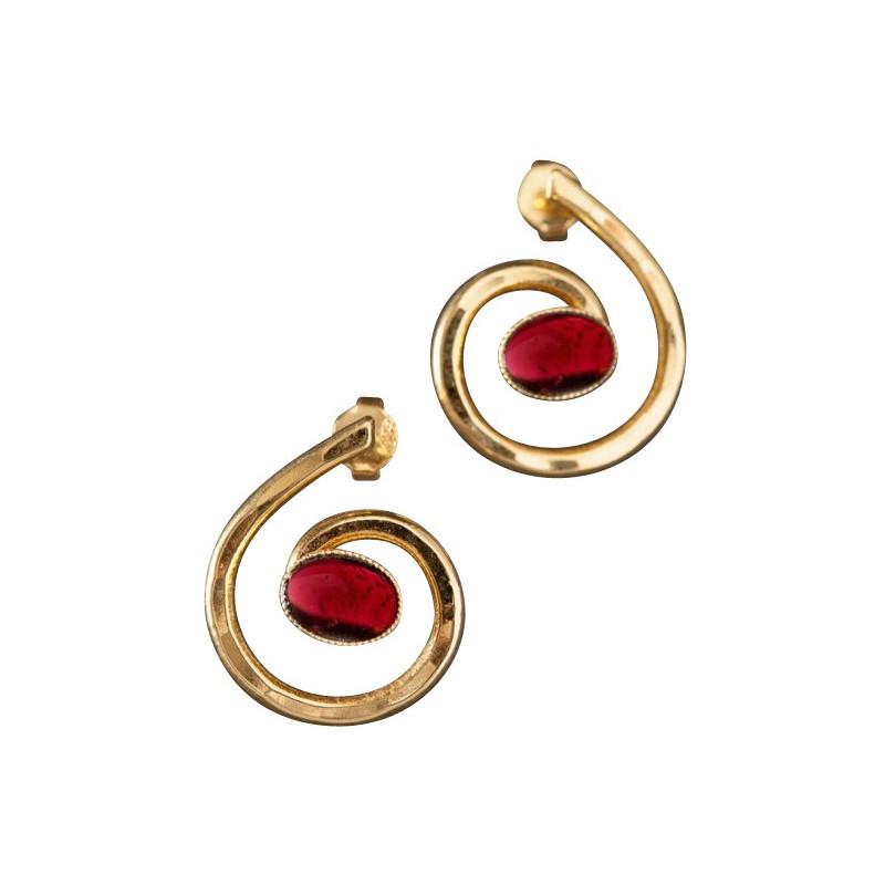 Boucles d'oreille plaqué or grenat, bijoux de créateur, vente en ligne, bijou artisanal, bijou fabrication française