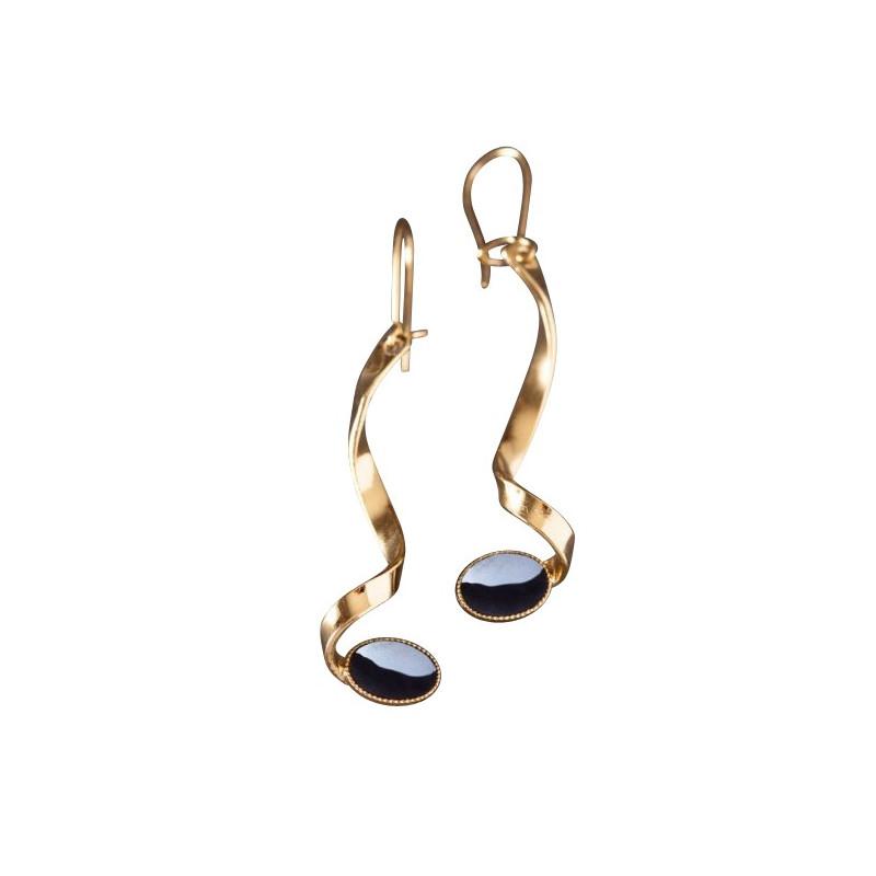 Boucles d'oreille plaqué or hématite Voluptia, bijoux de créateur, vente en ligne, bijou artisanal, bijou fabrication française