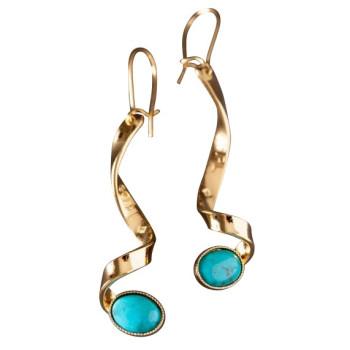 Boucles D'oreille Or Avec Turquoise