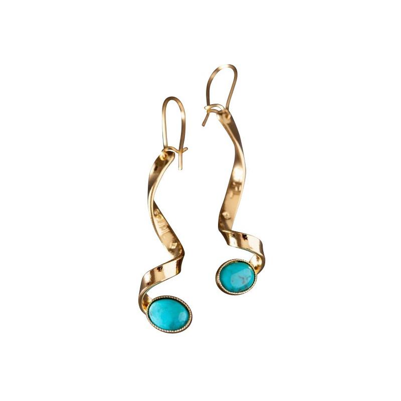 Boucles d'oreille plaqué or turquoise Voluptia, bijoux de créateur, vente en ligne, bijou artisanal, bijou fabrication française