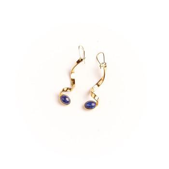 Boucles d'oreille plaqué or lapis lazuli, bijoux de créateur, vente en ligne, bijou artisanal, bijou fabrication française
