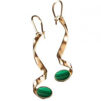Boucles d'oreille plaqué or Malachite Voluptia
