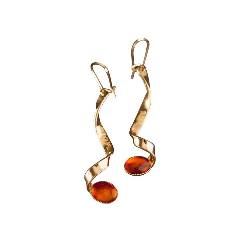 Boucles d'oreille plaqué or ambre, bijoux de créateur, vente en ligne, bijou artisanal, bijou fabrication française