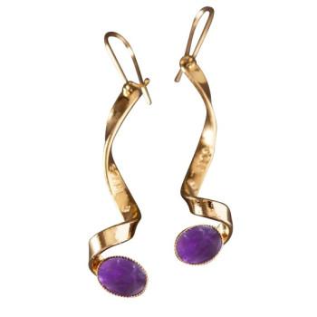 Boucles d'oreille plaqué or avec Améthyste 3