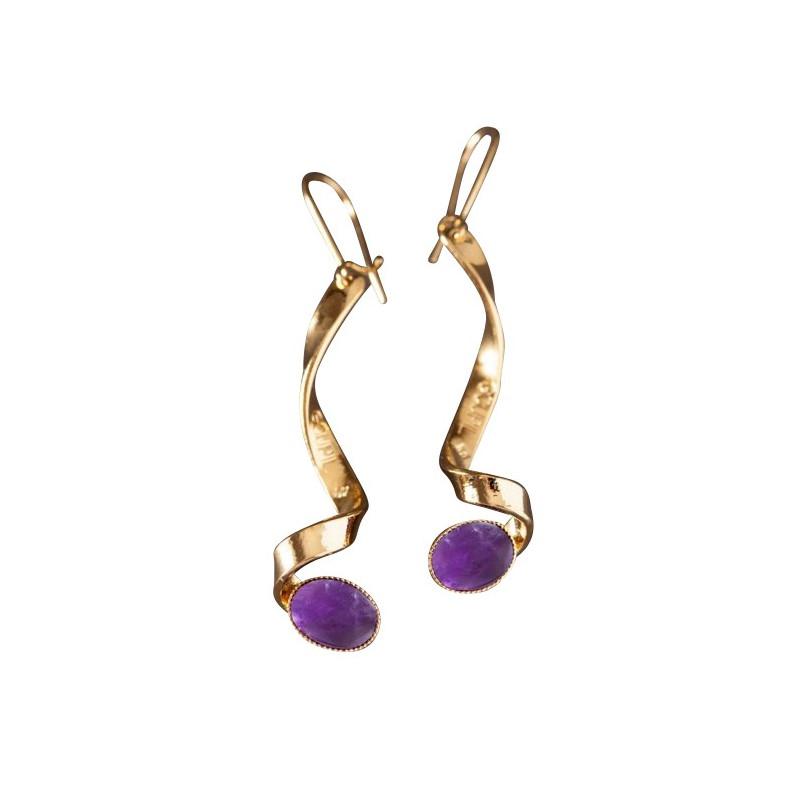 Boucles d'oreille plaqué or améthyste Voluptia, bijoux de créateur, vente en ligne, bijou artisanal, bijou fabrication française