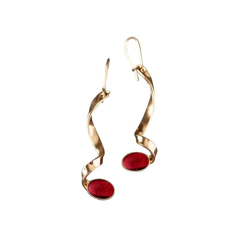 Boucles d'oreille plaqué or grenat Voluptia, bijoux de créateur, vente en ligne, bijou artisanal, bijou fabrication française