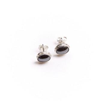 Boucles d'oreille argent hématite, bijoux de créateur, vente en ligne, bijou artisanal, bijou fabrication française