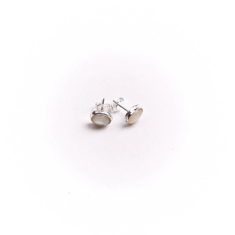 Boucles d'oreille argent nacre, bijoux de créateur, vente en ligne, bijou artisanal, bijou fabrication française