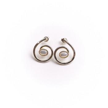 Boucles d'oreille argent avec nacre, bijoux de créateur, vente en ligne, bijouterie en ligne