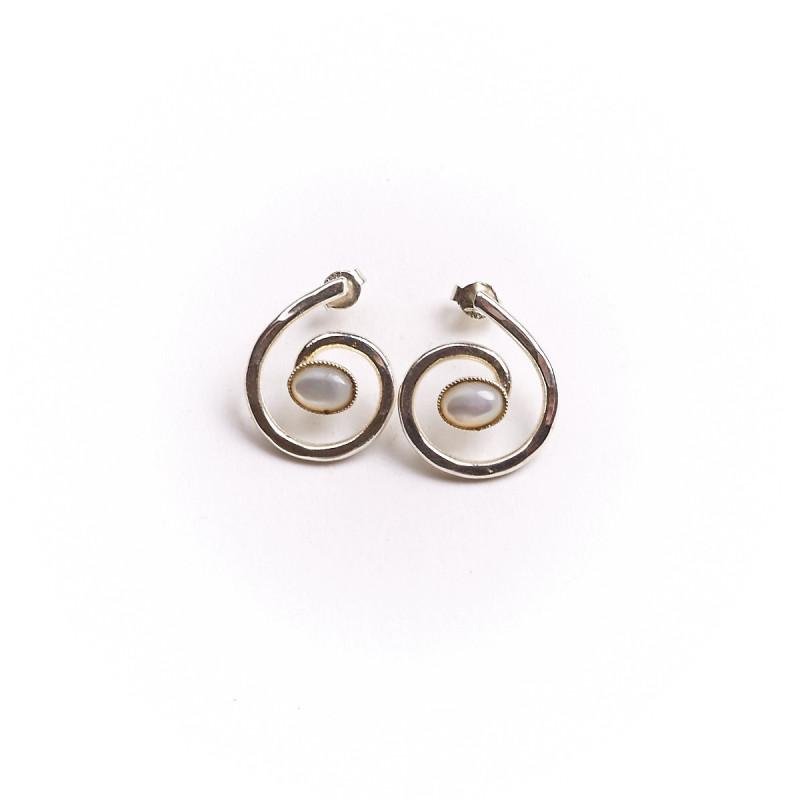 Boucles d'oreille argent avec nacre Glaïa, bijoux de créateur, vente en ligne, bijouterie en ligne