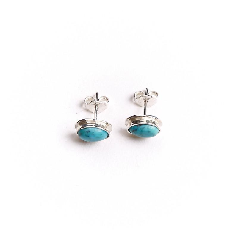 Boucles d'oreille argent avec turquoise Classica, bijoux de créateur, vente en ligne, bijou artisanal, bijouterie en ligne