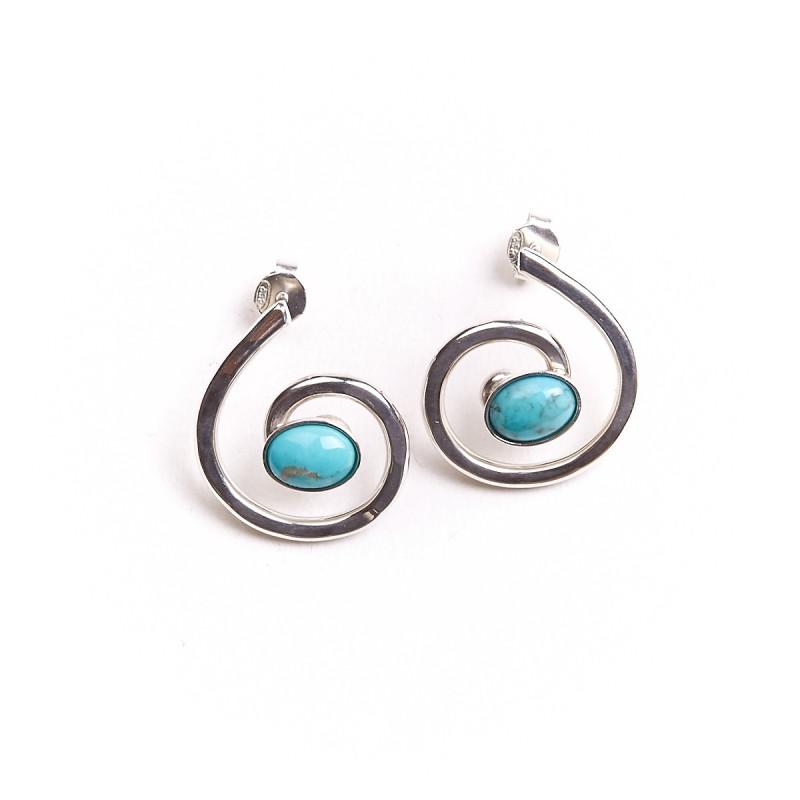 Boucles d'oreille argent avec turquoise Glaïa, bijoux de créateur, vente en ligne, bijou artisanal, bijouterie en ligne