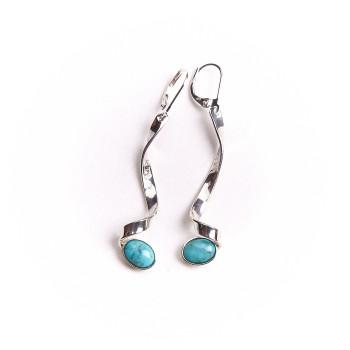 Boucles d'oreille argent avec Turquoise 3