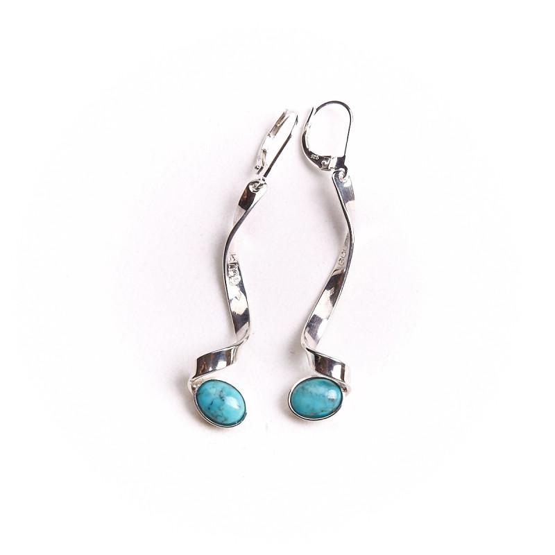 Boucles d'oreille argent avec turquoise Voluptia, bijoux de créateur, vente en ligne, bijou artisanal, bijouterie en ligne