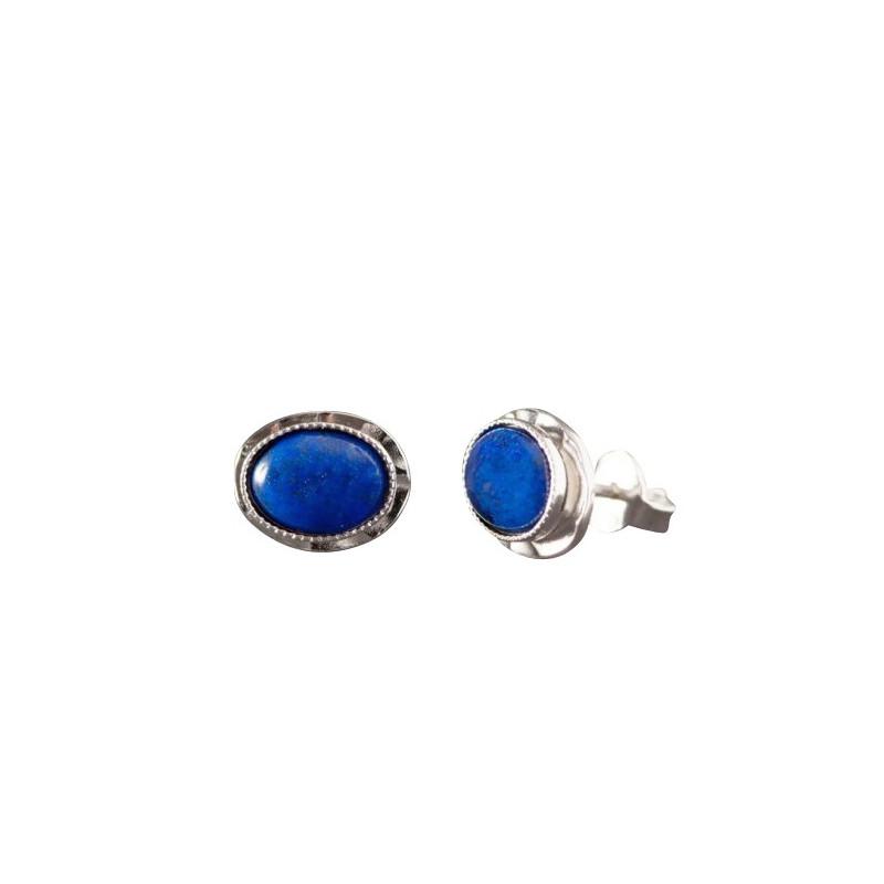Boucles d'oreille argent avec lapis lazuli Classica, bijoux de créateur, vente en ligne, bijou artisanal, bijouterie en ligne