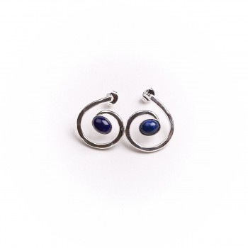 Boucles d'oreille argent avec lapis lazuli, bijoux de créateur, vente en ligne, bijou artisanal, bijouterie en ligne