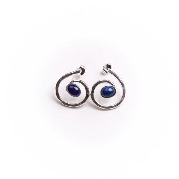 Boucles oreille argent avec Lapis lazuli 2