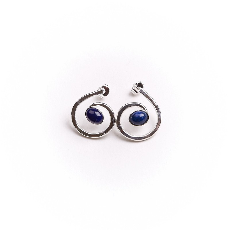Boucles d'oreille argent avec lapis lazuli Glaïa, bijoux de créateur, vente en ligne, bijou artisanal, bijouterie en ligne