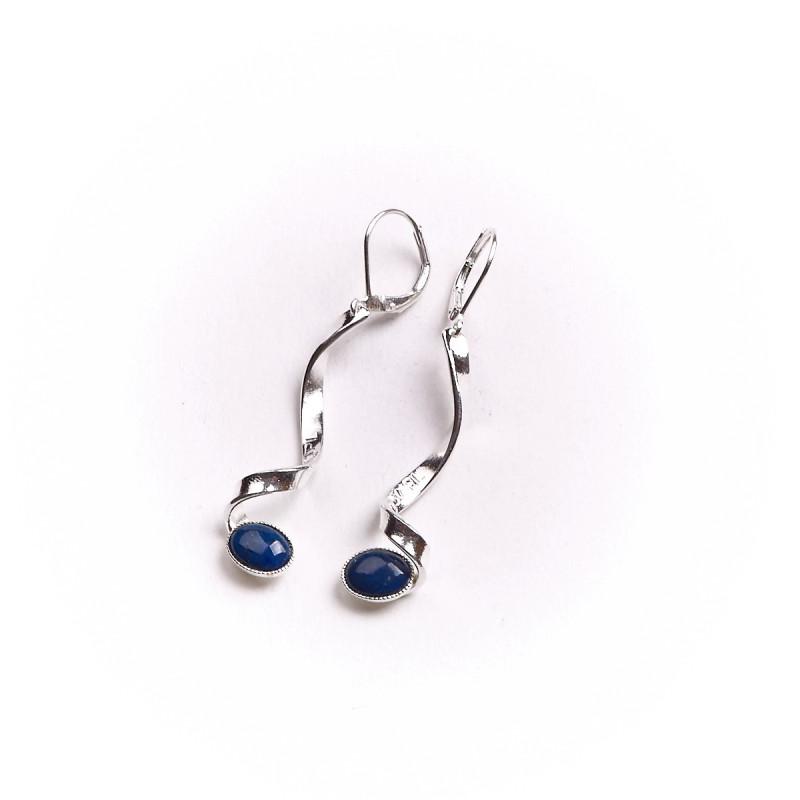 Boucles d'oreille argent avec lapis lazuli Voluptia, bijoux de créateur, vente en ligne, bijou artisanal, bijouterie en ligne