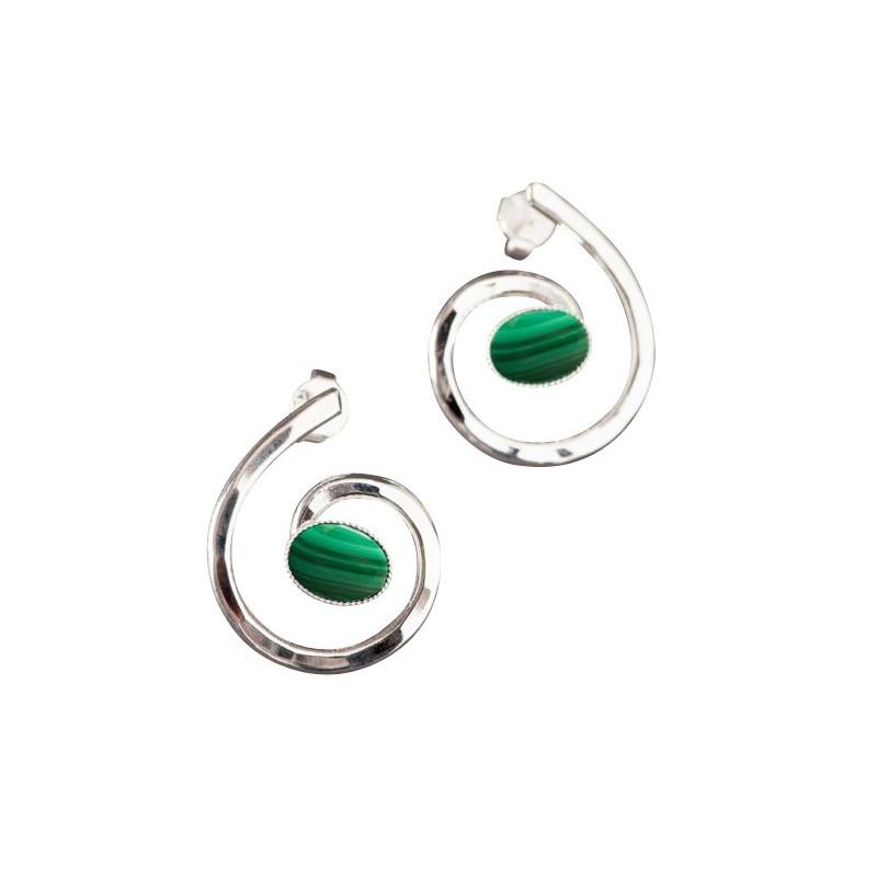 Boucles d'oreille argent avec malachite Glaïa, bijoux de créateur, vente en ligne, bijou artisanal, bijouterie en ligne