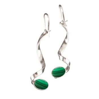 Boucles d'oreille argent avec malachite Voluptia, bijoux de créateur, vente en ligne, bijou artisanal, bijouterie en ligne