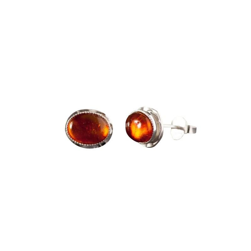 Boucles d'oreille argent avec ambre Classica, bijoux de créateur, vente en ligne, bijou artisanal, bijouterie en ligne