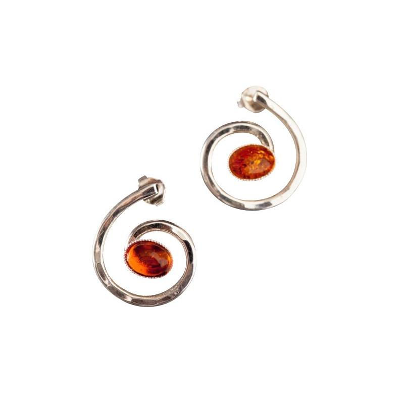 Boucles d'oreille argent avec ambre Glaïa, bijoux de créateur, vente en ligne, bijou artisanal, bijouterie en ligne